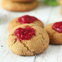 Vegan Richa: Cookie BlogHop: Pistachio Almond Cranberry Thumbprint Cookies. Vegan