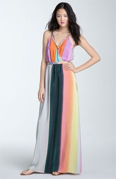 Color Block Silk Crepe de Chine Maxi Dress