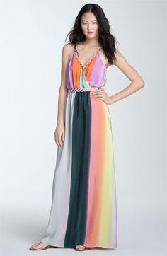 Color Block Silk Crepe de Chine Maxi Dress