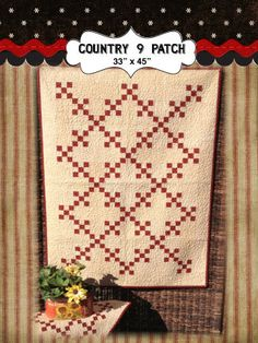 Country Nine Patch quilt kit by myreddoordesigns on Etsy, $30.00