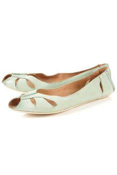 Topshop - Mint Macarena Peep Toe Flats