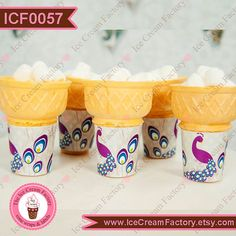 Gray purple and blue peacock ice cream cone wraps wrappers labels favors PRINTED birthday party supplies