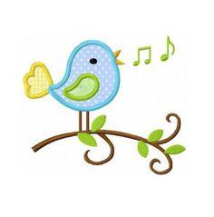 Singing bird applique machine embroidery design
