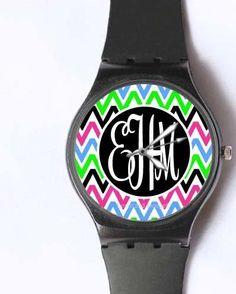 Monogrammed Watch - Women's Watches Custom Chevron Stripes- yes please