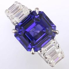 Sapphire and Diamond Engagement Ring from Alson Jewelers - the vertical baguettes are a unique touch.