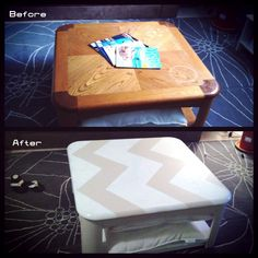 Ugly Coffee Table Chevron Makeover