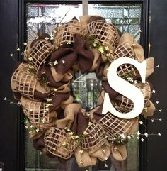 Burlap wreath... You can order this if you are interested by emailing msgirl1975@yahoo.com or like my Facebook page Miss Hippi Girl Wreaths & Designs!