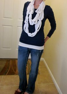 No-Sew easy t-shirt loopy scarf tutorial