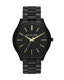 Y1PPU Michael Kors Mid-Size Black Stainless Steel Runway Three-Hand Watch
