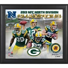 Green Bay Packers 2013 NFC North Champs Framed 15'' x  17'' Collage with Game-Used Football - Limited Edition of 500