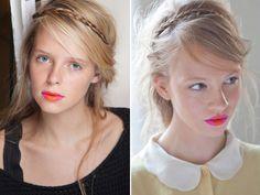 mini braid. and pink + orange lips at holly fulton spring 2013