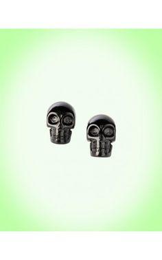 Black skull studs