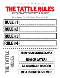 Back to School Freebie! A Bad Case of the Tattle Tongue: The Tattle Rules