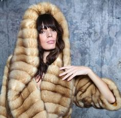 hooded golden sable fur coat