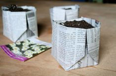Origami Newspaper Planter: Recycle your newspaper with an easily folded biodegradable pot, perfect for starting seeds. This newspaper planter can be set right into the ground, where it will not only protect the fragile root system of your seedling, but also decompose on its own over time. Use these simple folding instructions to create your own idea, craft, fold newspap, seed, green, planters, garden, biodegrad planter, newspaper
