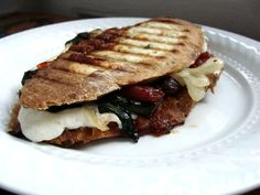 tomato jam, mozzarella & spinach panini