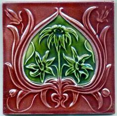 English Art Nouveau Flower antique tile, c. 1900