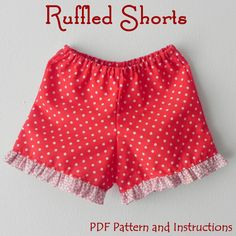 Lily Bird Studio PDF Sewing Pattern - Ruffled Shorts for girls - elastic waist - simple, easy sew, perfect project for beginners.