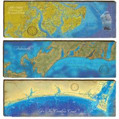 Nautical charts and landmarks from nearly every coastal state printed on rough cut solid pine boards for a one-of-a-kind art piece. Organized by state.
