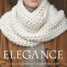 ELEGANCE Outlander Cowl Knit Kit: super soft thick Silk/Merino Yarn + US #19 needles + Written Pattern w. Photo Tutorial. DIY. Choose Color.