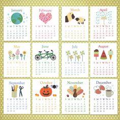 2014 Calendar, Printable Calendar INSTANT DOWNLOAD Desk Calendar AND 8.5x11 calendar included, Academic School Year calendar, printable