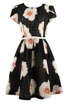 Floral Print Check Slim Dress #summerdress #floralprint #retro #style #fashion street fashion, floral prints, dress fashion