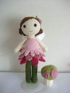 Hand knit fairy doll.