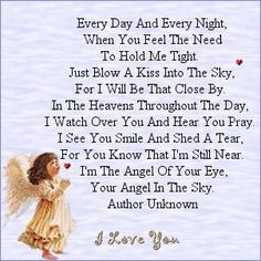 sayings, a kiss, sky, angel babies, angel quotes, wall photos, heavens, eyes, guardian angels