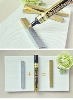 DIY :: Gold Staples ( just paint with a gold permanent pen )