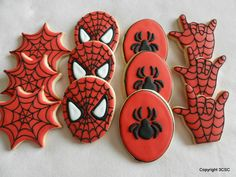 SpiderMan-Spidey-Super Hero Party Platter Pack Hand decorated cookies. $29.99, via Etsy.