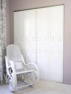 Nailhead Trim Closet Doors --> http://www.hgtv.com/designers-portfolio/room/romantic/dining-rooms/7845/index.html#/id-7784/room-bedrooms/style-romantic?soc=pinterest
