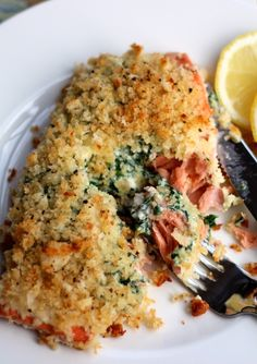 Stuffed Baked Salmon...mascarpone and spinach..oh, my :)