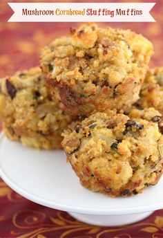 Mushroom Cornbread StuffingMuffins - super fun and perfect for Thanksgiving!