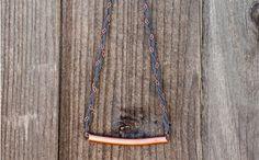 Collar de trapillo trenzado con cadenas y cobre