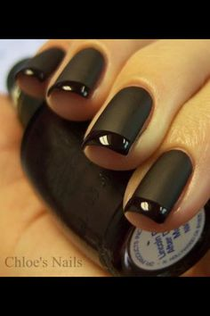 Matte black with a glossy french tip