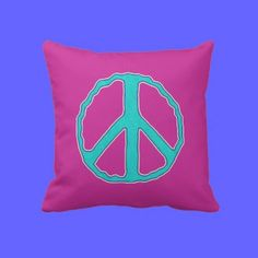 Sign of Peace ~ Cyan in the Pink - Fun and forthright. Cyan & Multi-color peace symbol on Deep Pink, w/ solid matching Cyan on reverse. Makes a great gift.