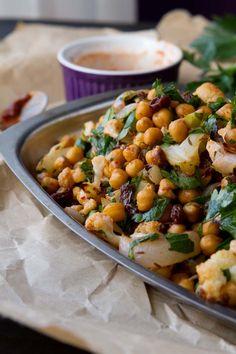 Roasted Cauliflower Salad with Spicy Dressing - Vegan