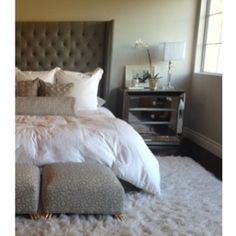 Our Omni Mirrored 3-Drawer Chest is a regal touch in this bedroom. Thanks for the photo, @Jana Bek Design.