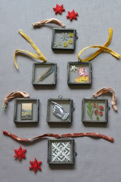 TINY HANGING PICTURE FRAMES - set of 6