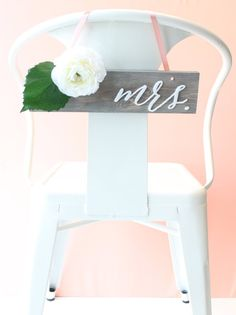 Wedding Chair Signs: mr. & mrs. calligraphy pair (solid wood in driftwood grey and white).