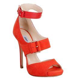 Coral nubuk sandal from Jimmy Choo.* ThatpopOFcolor shoe orang, coral heel, sandal