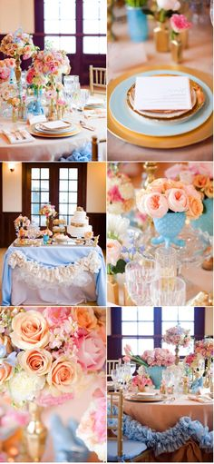 Peach and light blue wedding colors.
