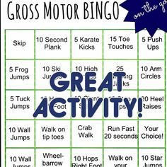 """Fantastic!  Gross Motor Bingo from the Inspired Treehouse (@insptreehouse) Just Google """"gross motor bingo inspired treehouse to find the page and download!!- - click on pin for more!    - Like our instagram posts?  Please follow us there at instagram.com/pediastaff"""