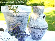 With a Dash of Color: Decoupaged French Pots