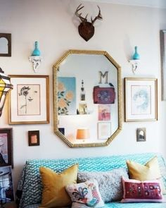 decorating small spaces, mirror, wall art, boho chic, living rooms, antler, sitting rooms, guest rooms, art walls