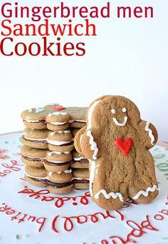 Gingerbread Men Sandwich Cookies. Yum!