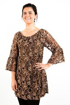 Brown lace Tunic Top - #blondellamydean #plussizefashion #plussize #curves