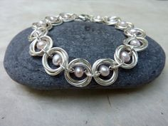 Pale Pink Pearl and Silver Chainmaille Bracelet by Linkouture