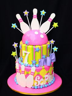 bright and colorful bowling cake