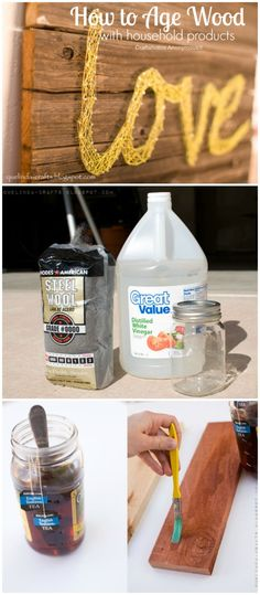 How to Age Wood using household products. Super easy DIY method to make wood look old and worn. This really works!